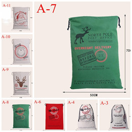 Wholesale Outdoor Reindeer Decorations - 2016 newest 11styles Christmas Large Canvas Monogrammable Santa Claus Drawstring Bag With Reindeers, Monogramable Christmas Gifts Sack Bags