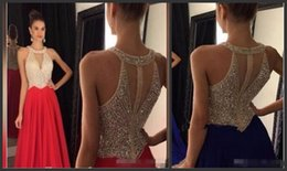 Wholesale New Halter Applique Feathers - New Arrival Chiffon Prom Dresses 2018 Custom made O-Neck Sweep Train Chiffon with Crystal Long Formal Gown Beaded Party Evening Dresses