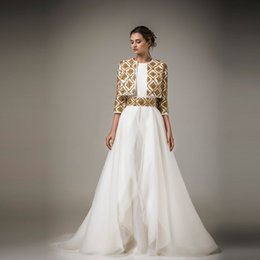 Wholesale Chiffon Beaded Evening Jackets - Ashi Studio 2016 Evening Dresses Gold Beaded Jacket Long Sleeves A Line Prom Dresses Chiffon Floor Length Formal Party Dresses Custom Made