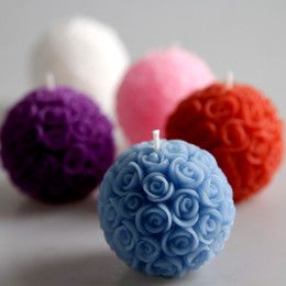 Wholesale Wax Flowers Wedding - 3D Rose Balls Fragrance Candle favors wedding event party decoration Handmade candles Free Shipping 12pcs lot