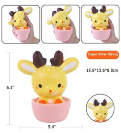 Wholesale Kawaii Deer Wholesale - DHL 15CM New Squishy Jumbo Kawaii Cup Deer Cream Scented Very Slow Rising Decompression Squeeze Toys For Kids Doll Gift Fun