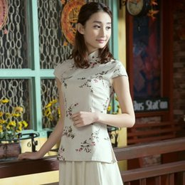 Wholesale Tang Blouses - Elegant Floral Printed cheongsam QiPao Vintage blouse with Cotton material and style of Tang Dynasty,classic style,tasteful