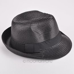 Wholesale Wholesale Womens Fedora - Wholesale-New 2016 fashion mens womens Unisex solid straw sun hat Fedora Trilby Gangster Cap Summer Beach couple hat