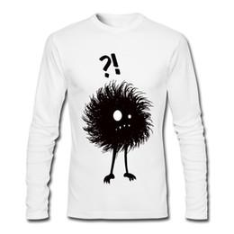 Camicia personalizzata online-T-shirt a maniche lunghe da uomo di design divertente con t-shirt girocollo sartoriale in cotone bianco e nero con scritta Gothic Wondering Evil Bug
