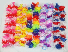 Wholesale Wreaths Hanging - Fashion Hot Party Supplies Silk Hawaiian Flower Lei Garland Hawaii Wreath Cheerleading Products Hawaii Necklace