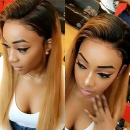 Wholesale Long Hair Tone - #1bT27 Glueless Lace Front Human Hair Wigs For Black Women Brazilian Virgin Hair Full Lace Wig Two Tone Ombre Lace Wigs