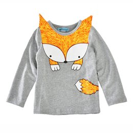 Wholesale Cute Cheap Tops - Ins Girl's T-shirt Long sleeve Cute Fox Boys Tops 2017 Autumn Spring Children clothing Cheap price Wholesale