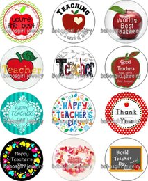 Wholesale Glass Love Letters - Free shipping HAPPY TEACHER DAY glass Snap button Charm Popper for Snap Jewelry good quality 12pcs   lot Gl371 jewelry making