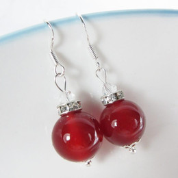 Wholesale 925 Silver 12 Mm - Elegant red agate pendant 925 sterling silver jewelry 12 mm