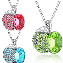 Wholesale Crystal Apple Necklace - Crystal Apple Necklace Blue Green Diamond Apple Pendant Silver Chain Christmas Eve Jewelry for Women Kids Christmas Gift 162451