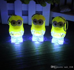Wholesale Solar Water Toy - Small yellow people Despicable Me keychain flash light emitting light key chain advertising promotional gifts toys wholesale