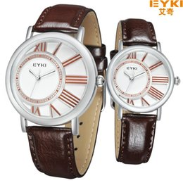 Wholesale Eyki Pair - EYKI lovers watch Pair 2016 New Fashion Leather Quartz Watch Mens Watches Top Brand Luxury lovers watches Women Dress Wristwatch