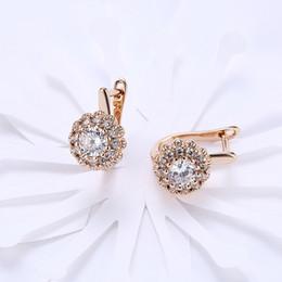 Серьги с бриллиантами онлайн-Роскошные женские модные серьги Золото / серебро Большой бриллиант Красивые серьги обруча Женщины Свадебные серьги с капюшоном