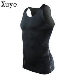 Wholesale Men S Compression Tank - men summer workout breathable vest fitness bodybuiding compression Gym tank top sleeveless basketball top man t shirt vests
