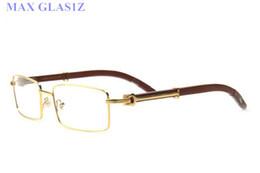 Wholesale Eyeglass Frames For Girls - popular brand designer women square wood sunglasses men's unique rectangle shield UV400 vintage eyeglasses full frames for women with box