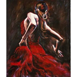 alberi dipinti d'amore Sconti Dipinti di figura Ballerina di flamenco spagnolo in arte decorativa rossa Abito dipinto ad olio da donna dipinto a mano