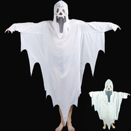 Wholesale Ghost Kid - 2017 New Hot Halloween Cosplay Party Ghost Unisex Suit Human White Pattern Costume Halloween Scare Performance Clothes Wear Suit Adults