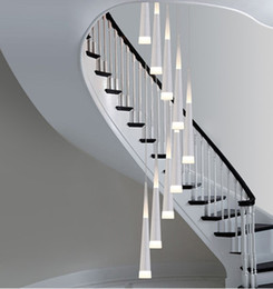 Wholesale contemporary bars - 1.5-3.8M long Led stair lighting bar Cone spiral pendant lamp lights for Extra height stairwell Library studio led strip lighting Luminaire