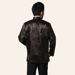 Wholesale Chinese Silk Satin Jackets - Fall-High Quality Brown Men Silk Satin Jacket Chinese Apec Coat Vintage Totem Tang Suit Outerwear S M L XL XXL XXXL MN027