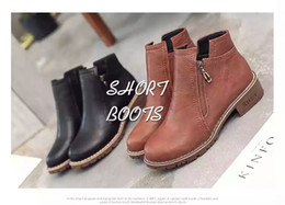 Wholesale Thick British Women - 2017 new autumn and winter boots female Martin all-match retro thick soled boots. British style thick with low heeled boots