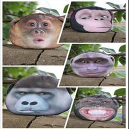 Wholesale Mini Monkeys - 3D Animal Change Purse Monkey Gorilla Printed Coin Purse Kawaii Wallet Zipper Mini Handbag 5 Styles LJJO3324