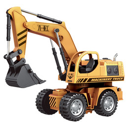 Wholesale Excavator 12 - Wholesale- HELIWAY 1:12 Original Rc Truck Excavator Wire Control Flash Toy Remote Control Electric Engineering Truck Model Vehicle Toys