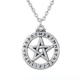 Wholesale Large Silver Chain Link Necklace - Alloy Religious Necklaces Series Antique Silver Plated Large Rune Pentacle Pendant Necklace for Man and Woman