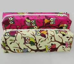 Wholesale Owl Organizer - Wholesale-Kawaii Owl PU Leather Pencil Case For Girls Boys Stationery Storage Organizer Pen Bag Material Escolar Office Supplies Kids Gift