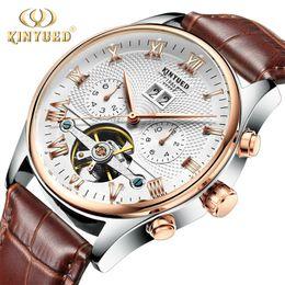 Wholesale Men S Watch Brands - Kinyued skeleton automatic watch men waterproof leading brand men s business watch leather calendar rose gold Relogio Masculino