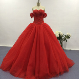 Wholesale High Quality Quinceanera Dresses - Cheap Red Quinceanera Dresses Strapless Pleated Satin Ball Gowns Prom Dresses Party Dresses Dhyz with High Quality