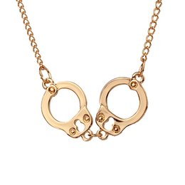 Wholesale Circle Choker Necklace - 2016 New Jewelry Fashion Women Brand Handcuffs Pendant Necklace Gold Silver Clavicle Chain Chokers Necklace For Women 12pcs zj-0903235