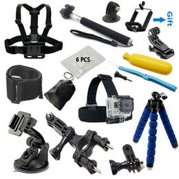 Wholesale Cam Accessories - High-quality sports cam accessories kit Monopod tripod Chest Belt Head Mount Strap for Go-pro hero4 3 Black SJCAM SJ4000 Xiaoyi Eken H8 H9
