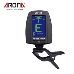 Wholesale portable bass guitar - Wholesale- Rotatable 360 Degree Clip Tuner Portable LCD Digital Clip-On Electric Guitar Tuner Chromatic Bass Aroma AT-300B