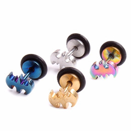 Wholesale Solid Plugs - 316L Surgical Steel Solid Titanium Plated Men's Cartilage Earring Plug Popular Bat Barbell Piercing Body Jewelry