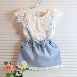 Wholesale Girls Summer Denim Skirt - Girl Lace bowknot braces denims dress suits Summer Chiffon Lace cotton Sleeveless T-shirt Short skirt dress suit baby clothes B001