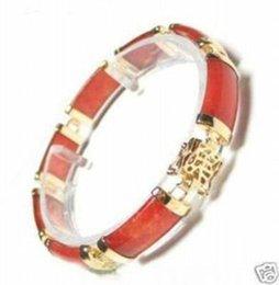 Wholesale Beautiful China Girls - 2016 new of Peking, China jade bracelet <<New Beautiful red jade Gold plated 18kGP bracelet