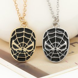 Wholesale Spiderman Charms - 2016 Ship Superhero Spider-man The Amazing Spiderman Mask Pendant Necklace Fashion Necklace for Men Wholesale and Retail ZJ-0903343