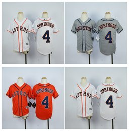 Wholesale Boys Shorts George - Top Quality ! Cheap Kids Houston Astros Jerseys Boys #4 George Springer Jerseys White Grey Youth Stitched Baseball Jerseys Embroidery Logos