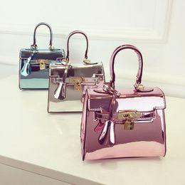 Wholesale Handbag Mirror Silver - Cool mirror single shoulder bag pack 2016 new jelly bag Kylie Handbag Satchel lady Bao Xiaobao