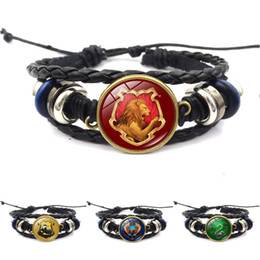 Wholesale Rope Wraps - Harry Book Hogwarts Gryffindor Slytherin Hufflepuff Ravenclaw Badge Bracelets Multilayer Wrap Bracelet Glass Cabochon Jewelry Potter Drop