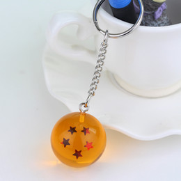 Wholesale Dragon Ball Pendant - 2.5cm Dragon Ball Z 7 Stars Crystal Balls Keychain Pendant Keyring 1 2 3 4 5 6 7 star Christmas gifts 7pcs lot ZD025C