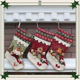 Wholesale Large Christmas Deer - Large Christmas Decorations Santa Claus and Snowman Christmas socks Christmas deer gifts socks Christmas Ornaments wholesale for 2016