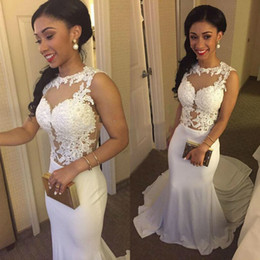 Wholesale Indian Style Dresses - Long Evening Gowns White 2016 Mermaid Style Lace Sheer Neck And Chiffon Long Train Formal Party Prom Dresses Sexy Indian Dress
