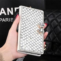 Wholesale Crystal Bowknot Iphone - Luxury PU Leather Bling Bowknot Crystal Diamond Wallet Flip Case Cover For iPhone Samsung Diamond Flip Case
