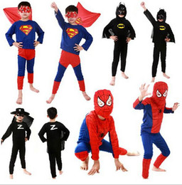 Wholesale Child Christmas Stockings - Children Batman Spiderman Superman Costumes For Kids Zentai Superhero Suits Cosplay Clothes suits long sleeve in stock YL4003