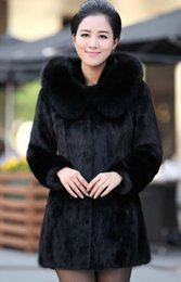 Wholesale Womens Fur Mink Coat - vest mink coat new elegant Womens Outwear Long Sleeve Mink Fur Coat Long Jacket Black