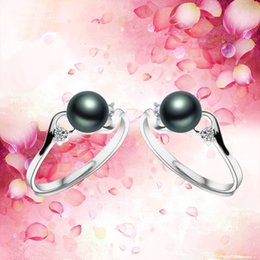 Wholesale Gold Plated Freshwater Pearl Ring - 100% Natural Real Freshwater Peacock Black Pearl Rings For Women 2016 Fashion Classic Silver Plated Jewelry Hot Selling Rings