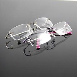 2019 großhandel runde bilderrahmen 2017 Liebhaber Brille Brillen Brillen für Männer Frauen Erwachsene Metall Randlose Rahmen Spektakel Super Licht Elastic Concise Design Speicher Tempel