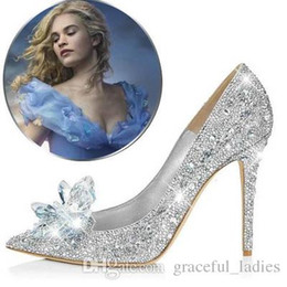 Wholesale Kitten Heel Evening Shoes Silver - Rhinestone Wedding Shoes Cinderella Lily James on Berlin Film Festival Red Carpet Evening Party Shoes High Heel Pumps Crystal Bridal Shoes
