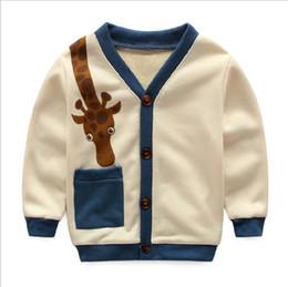 Wholesale Boys Knitwear Clothing - 2016 New Fall Kids Boys Girls Knit Cardigan Giraffe Cartoon Fashion Coat Sweater Knitwear Knit Shirt Children Clothes
